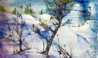 Gloria Peterson Winter Snow Scene Watercolor Painting