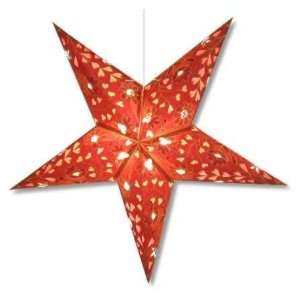 Star Lights   Burgundy Hearts and Flowers Paper Star Lamp