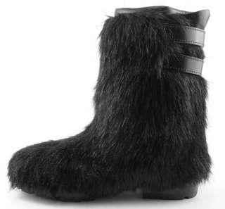 CHANEL Black Womens Shoes Fur Winter Boots EUR 38.5