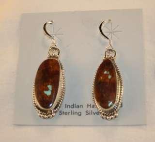 Navajo Sterling Silver & Royston Ribbon Hook Earrings
