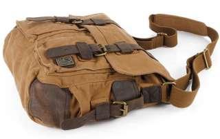 2012 New Khaki Retro Canvas Messenger leather Shoulder Bag Backpack