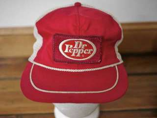 Vintage 80s DR. PEPPER Embroidered Patch Trucker Hat Cap One Size
