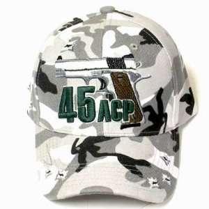 CAMO 45 ACP AUTOMATIC COLT PISTOL GUN HAT CAP ADJ NEW