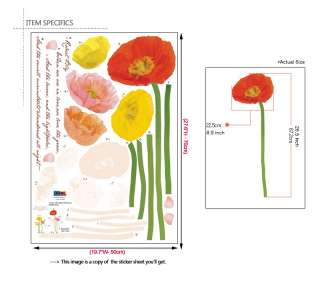 POPPY FLOWERS   Home Decor Art Wall Sticker Vinyl Decal