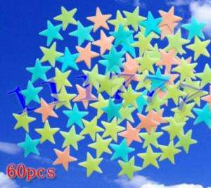 60X GLOW IN THE DARK COLOUR STARS 4 BABY ROOM NURSERY