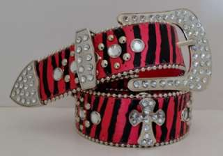 New 80s Western Cowgirl Pink Zebra Cross Studded Rhinestone Leather