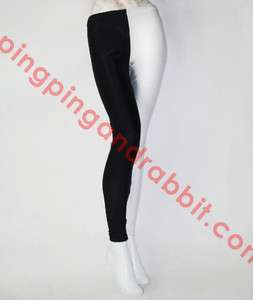 and White Nylon Spandex Two Toned Leggings Joker 2 Sided Pants Tights