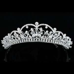 Rhinestone Crystal Beads Flower Prom Wedding Crown Tiara 8799