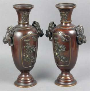 EXCEPTIONAL PAIR ANTIQUE JAPANESE MEIJI PERIOD BRONZE VASES 19th C