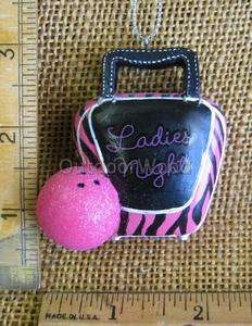 Pink Black Bowling Bag & Ball Ladies Night Ornament NEW