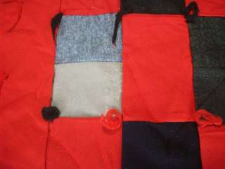 VINTAGE WOOL w/RED FABRICS TIED QUILT w/RED SASHING #D999