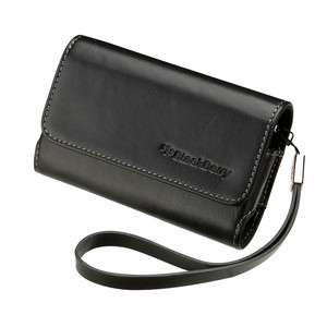 Leather Folio Case Pouch Cover with strap BlackBerry TORCH 9800 9810