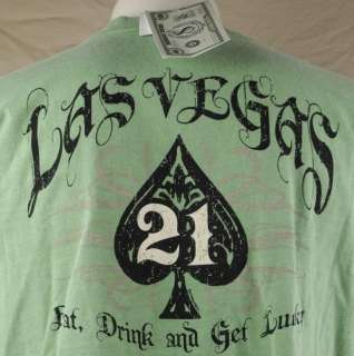 Crazy Shirts Las Vegas Eat Drink Get Lucky T shirt Medium Money Dyed