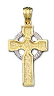 New Silver and Gold Irish Celtic Cross Pendent Necklace