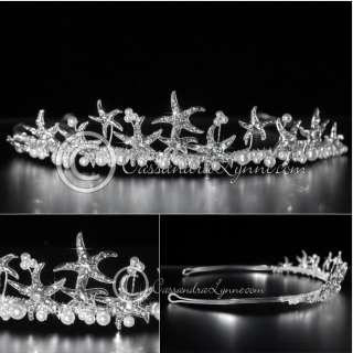 White Pearl Crystal Starfish Silver Beach Wedding Bridal Tiara Band