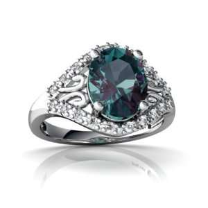 14K White Gold Oval Created Alexandrite Ring Size 4 Jewelry