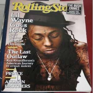 LIL WAYNE Music Rapper Rap Star Signed 2009 Rolling Stone