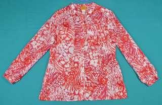 Size 12 L 14 Red Purple White Graphic Cotton Shirt Top Blouse