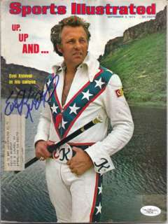 EVEL KNIEVEL AUTOGRAPHED 1974 SPORTS ILLUSTRATED JSA