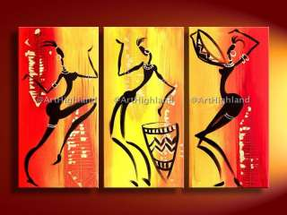 Abstract Oil Paintings Canvas Wall Art African Dancing