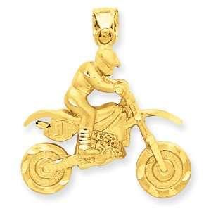 14k Dirt Bike w/Rider Pendant Jewelry