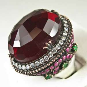 Art Deco 50.43ctw Ruby Emerald & Sapphire Rose Gold/925 Cocktail Ring