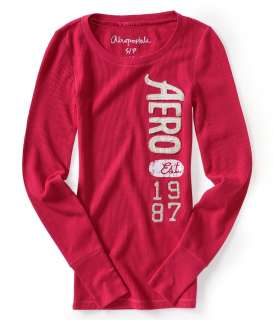 Aeropostale womens embroidered AERO thermal shirt   Style 5512