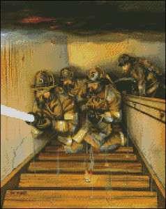 Goin to Work   Art by Paul Walsh Cross Stitch Pattern   Firefighter
