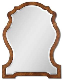 Shield Shaped Traditional Stained Frame Wall Mirror