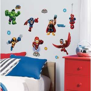 29 New SUPER HERO SQUAD WALL DECALS Marvel Room Stickers Boys Bedroom