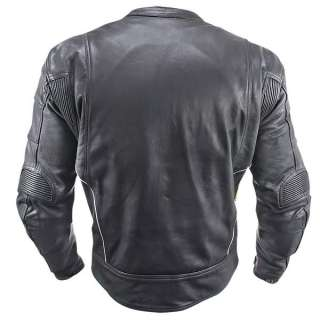 Vulcan Armored Mens Leather Motorcycle Jacket with Perforated Leather