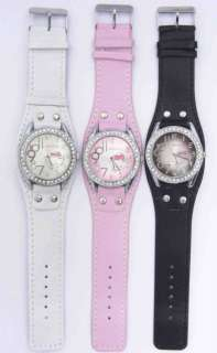 pcs Mix Wholesale 3 Color Hello Kitty wrist watch Black White Pink