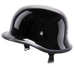 DOT Gloss Black German Shorty Motorcycle Half Helmet