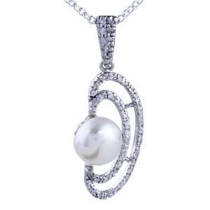 Sterling Silver Mussel Shaped Framed Pearl Pendant