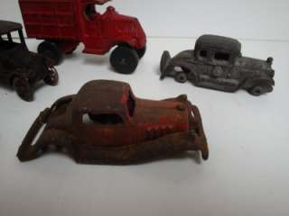 Vintage Lot of ARCADE Cast Iron Toy Cars Trucks Hubley Parts etc. Old