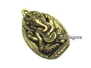 P3071 Hindu Lord Elephant head Om Ganesh Shiva brass pendant India