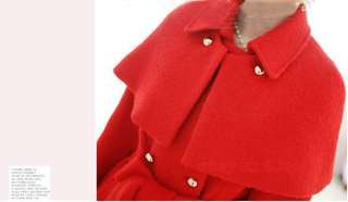 Womens Winter Woolen Coat Detachable Cape Clock Korea Double breasted