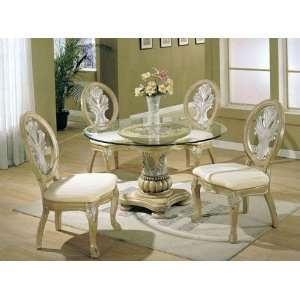 5pc Formal Dining Table & Chairs Set Antique Buttermilk Finish