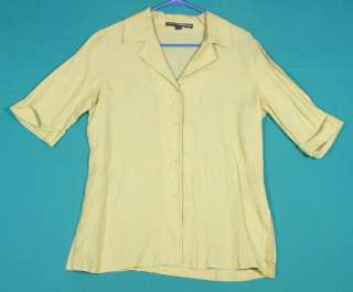 Linda Allard For Ellen Tracy Size 8 M 10 Green Linen Shirt Top Blouse