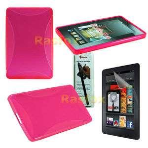 Kindle Fire TPU Gel Case Skin Cover + Screen Protector + Stylus
