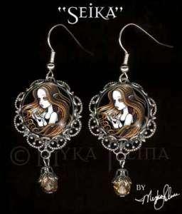 Gothic Amber Rose Angel Art Dangle EARRINGS Faery Seika