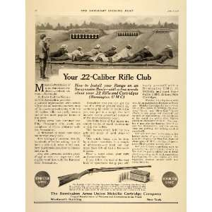 1916 Ad .22 Caliber Rifle Gun Club Shooting Range WWI