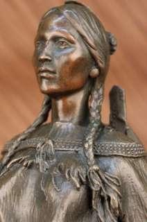 SIGNED NATIVE AMERICAN INDIAN WOMAN BRONZE SCULPTURE FIGURE ART DECO