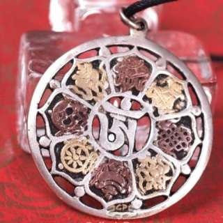Tibetan Copper Carved 8 Auspicious Symbol Mantra OM Amulet Pendant