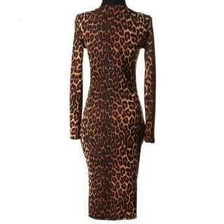 WOMENS LADIES ANIMAL LEOPARD PRINT BODYCON LONG SLEEVE DRESS DRESSES