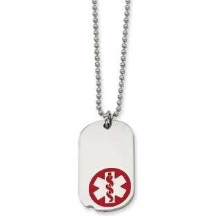 Dog Tag Stainless Steel Medical Alert   22 Necklace