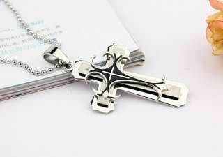 Silver & Black Crucifix Stainless Steel Pendant Cross Steel Cross