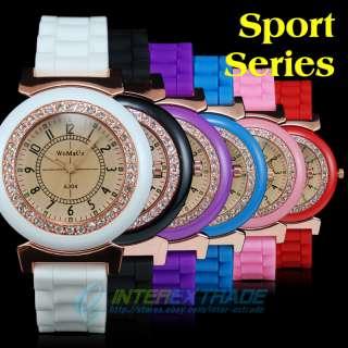 Crystal Bezel Arabic Numerals Silicone Lady Girl Sport Watch