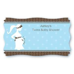Twin Boys   Set of 8 Personalized Baby Shower Name Tag Stickers: Toys