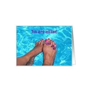 swimming pool feet party invitation Card: Health